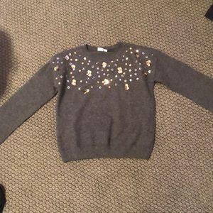Gap kids— grey sweater with flowers